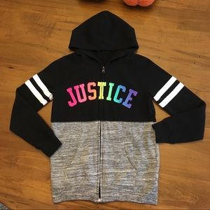 Justice size 8/10 zip up hooded jacket